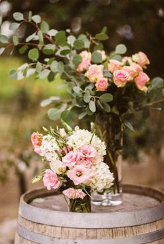 Love the pink anemones with the roses and eucalyptus.   Photography: Adrian Michael - adrianmichaelphoto.com