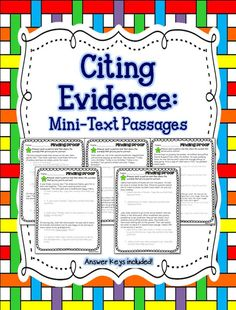 Finding Proof - Citing Evidence - Inferring Word Meaning  - Character Traits/Feelings 4 different formats teacher