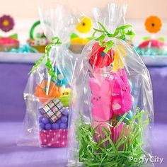 Hand out mini Easter baskets as party favors! Fill clear plastic cups with peeps and treats for a fun twist on an Easter classic!