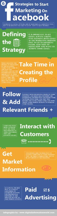 6 Strategies to Start Marketing on Facebook [Infographic] | By: Digital Information World, via Bit Rebels | #facebook #facebookmarketing #socialmedia #socialmediamarketing #infographic
