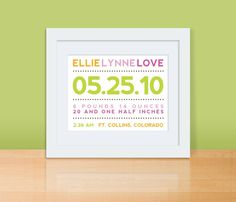 New baby gift - Typography announcement print