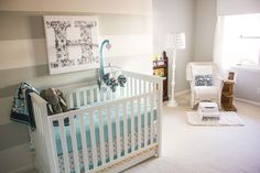 Paint colors: Benjamin Moore Grey Owl & Dove White Nursery with grey stripes just on one wall exactly like I want! www.wisemamablog.com