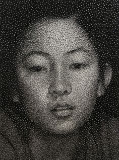 Portrait by Kumi Yamashita. Made by wrapping a single, unbroken black thread around galvanized nails on a white board.
