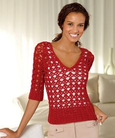This Persimmon Pullover is another great lace-inspired crochet pattern to layer over a simple tank top. Wear it with jeans or a flowing skirt to add a splash of color to your summer wardrobe.