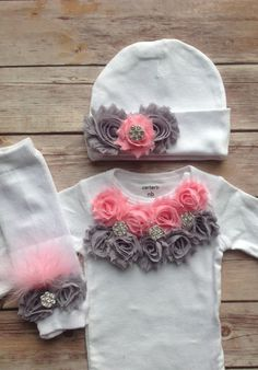 Pink GrayNewborn Outfit Baby Girl Outfit by AvaMadisonBoutique, $42.00