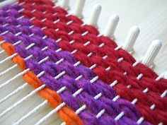 simple peg loom weaving
