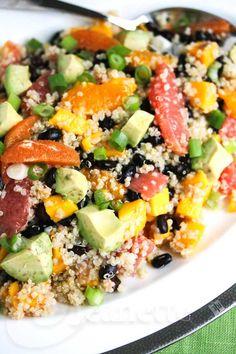 Quinoa Citrus Mango Avocado Black Bean Salad Recipe #healthy #glutenfree #sensationalsides