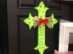 Large single hand painted wooden cross to hang on front door or wall burlap ribbon bow