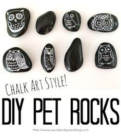DIY Pet Rocks - Chalkboard Style! from Spool and Spoon -Skye