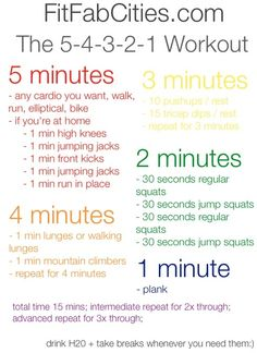 5-4-3-2-1 #workout. 15 min workout you can do anywhere! Click to get a printable version. by ykaj_shofa
