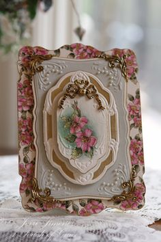 Gorgeous Floral Card...with embossed edges & many layers.