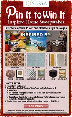 Surya is giving away a FREE rug and accessory package! Re-pin this image and follow the instructions for a chance to win! #inspiredbysurya #sweepstakes #free #pinittowinit