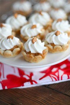 Wonderful for an elegant garden or tea party: Mini Butterscotch Cream Pies. #pie #tarts #tartlets #food #dessert #butterscotch