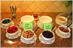 {BRUNCH IDEA} YOGURT BAR Fab Themes for {Jewelry Bars}! www.AndiTilly.OrigamiOwl.com/Hostess www.FB.com/MyStoryInALocket doili, shower ideas, jewelry bar, brunch party, yogurt bar, party buffet, food bars, babi shower, parti