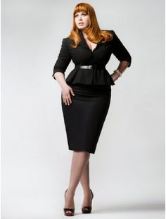 curvy girls, black suit, teacher