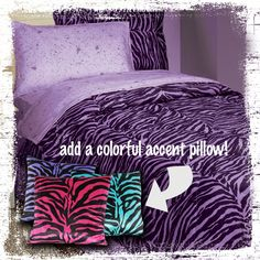 This purple zebra bed in a bag can really add some zing to your safari styled bedroom. #AnnasLinens #AnimalPrint