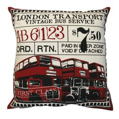 KOKO Company 91840 Ticket London Decorative Pillow - Bedding Sheets And Linens london vintage red burgundy cream black