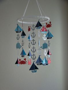 Adorable Nautical Sailboat Whale and Crab Sea Ocean Baby Mobile