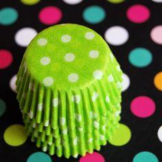 cupcake liners, polka dots, polkadot, limegreen, lime green, pink cupcakes, cupcak cup, green cupcak