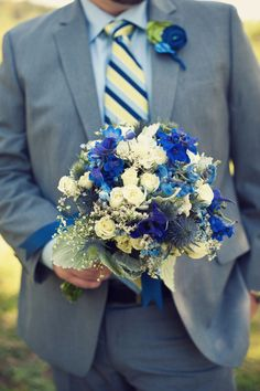Groom #Blue #bouquet … Wedding #ideas for brides, grooms, parents & planners https://itunes.apple.com/us/app/the-gold-wedding-planner/id498112599?ls=1=8 … plus how to organise an entire wedding, within ANY budget ♥ The Gold Wedding Planner iPhone #App ♥ For more inspiration http://pinterest.com/groomsandbrides/boards/  #powder #baby #pastel #Tiffany #pale #royal #sky #teal #turquoise #aqua #blue #navy #bouquets