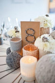 yarn wedding centerpieces for a #winterwedding