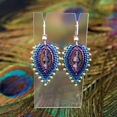 "Beaded ""Peacock Feather"" Earrings. 18.00, via Etsy."