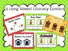 5 Long Vowel Literacy Centers are included.Easy to get ready and will be at your fingertips when you need them!Long a- Spider Sort ai, ay, a_...