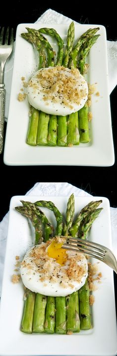 Grilled Asparagus with Poached Egg and Toasty Crumbles