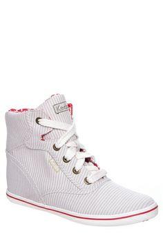 Keds - Rookie Wedge Chambray Stripe Sneaker - Tan White ($64.99)