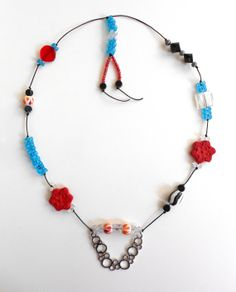 """This one-of-a-kind Metal, Ceramic and Resin Pendant Necklace by ARENAgal by Renée Riccardo measures 16"""" in length and has a special custom hanging on the back that measures 3"""""""