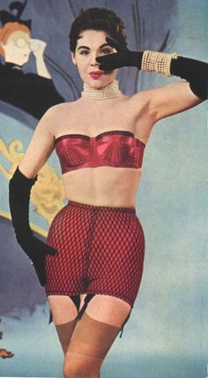 Caprice girdle, 1955. Love the idea of a fishnet overlay girdle.