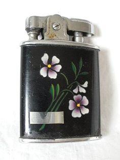 Dainty Little Vintage Marbo-Lite Japan Cigarette Lighter for Woman with Violets on Black