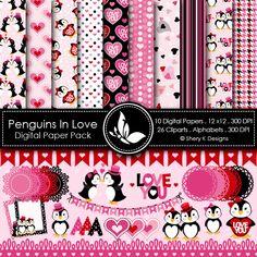 digital papers, valentin clipart, paper pack, background, clip art, penguins, scrapbook, digit paper, design