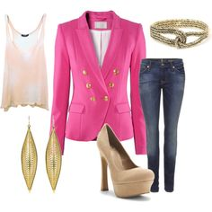 I love the idea of one BRIGHT piece complemented by simple jeans, neutrals, and gold jewelry