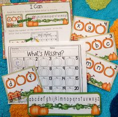 """Fall/Thanksgiving literacy and math centers for Kinders. Over 200 pages of activities. Common Core aligned (standards included). """"I Can"""" posters also included to promote independent workers."""