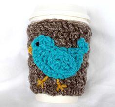 Blue Bird travel mug cup cozy coffee crochet by CageFreeFibers, $10.00