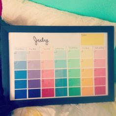 Dry-erase calendar made from paint samples and a $4 picture frame! Easy summer craft :)