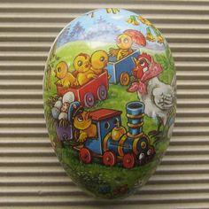 Vintage Germany Papier Paper Mache Egg Container Box Decoration 4.5 Inch Chick Train paper mache, paper mâché, decor egg