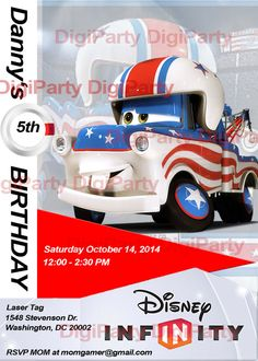 Disney infinity Mater invitation for $9.99 at https://www.etsy.com/listing/173540383/disney-infinity-mater-birthday-party