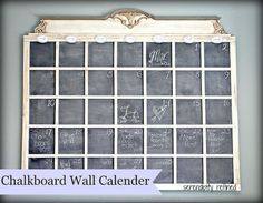 Organize your family's busy schedule on this giant DIY chalkboard calendar.