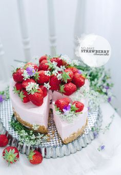 Pretty No-Bake Strawberry Cheesecake Recipe