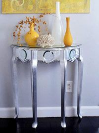 Make a Silver Demilune Table from a plain wooden table