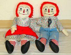"21"" Handmade Raggedy Ann and Andy Dolls"