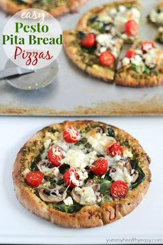 Easy Pesto Pita Bread Pizzas - use pita bread as the crusts and are spread with pesto and topped with fresh veggies. Delicious and healthy lunch, dinner or snack!