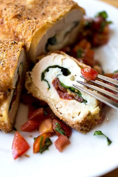 Crispy Stuffed Chicken Caprese with Fresh Mozzarella, Basil and Tomatoes, with Fresh, Tomato-Basil Relish, we're in!
