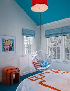 color, teen rooms, white walls, kid photos, hanging chairs, painted ceilings, bedroom designs, teen boy bedrooms, teenage bedrooms