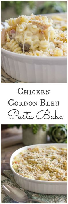 Chicken Cordon Bleu Pasta Bake | http://lovelylittlekitchen.com/
