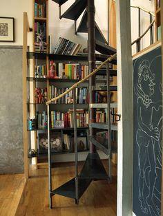 Love: staircase, rope, chalkboard, bookshelve #home