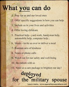 Top ten suggestions in caring for the military home front - deployed military spouse.