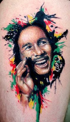 really cool bob marley tattoo, one love